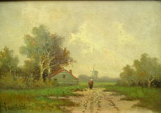 Henk Jan Ten Cate ( 1867-1955 ) - Farmer's wife on a country road with mill and farm