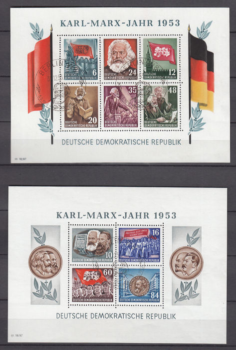 GDR or East Germany 1953 - Karl Marx Year - Michel block 8A/B + 9A/B for sale
