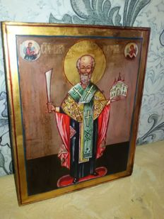20th century ortodox russian icon of Nikolay Mozhaysky hand painted