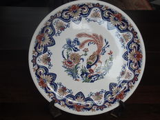 BOCH - Large serving bowl with painting of pheasant, craftsmanship.