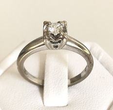 14k Grey gold solitaire ring - 0.15 ct, F/VS - Size 52 - No reserve price