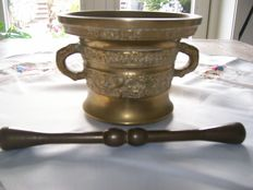 Very large bronze mortar with pestle and inscription