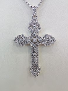Necklace in 18 kt white gold, with approx. 1.50 ct diamonds.