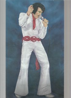Elvis Presley   Small poster, 18x30,5 cm. Rare, only sold in Las Vegas, lake Tahoe and on tour.   Beverage card from Dell Webb's Sahara Tahoe.