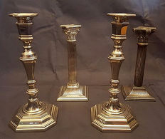 Two pairs of silver plated candlesticks, English style, 2nd half 20th century