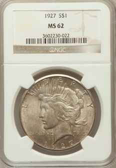United States - 1 Dollar 'Peace' 1927 NGC MS62 - Silver