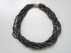 Purple pearl necklace with 7 strands - 50 cm - with 0.925 silver magnetic clasp