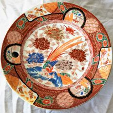 Warming dish, hot water plate, with partridge amongst flowers and landscape – Japan – circa 1920
