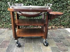 Mahogany and silver plated carving and serving trolley, England, 20th century