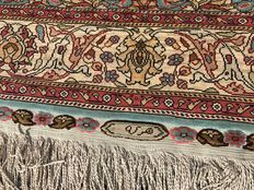 SILK ON SILK with signature TURKISH KAYSERI RUG Hand knotted  330x100 cm -NEVER USED