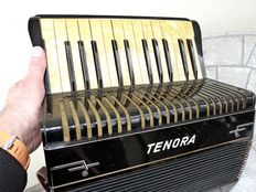 """Old """"TENORA"""" accordion, Germany ca. 1930, with mother of pearl keys!"""