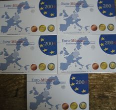 Germany – year packs Euro coins 2004, A, D, F, G, J (5 pieces).