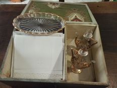 Wooden box with Holy Mass set and corporals