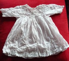 Adorable dress for a little girl in white cotton veil, embroidered by hand with a very thin lace, France - 1850