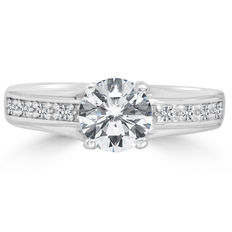 14K White Gold Ring with Diamonds 1.02 Ct - size 6,5