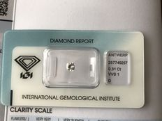 0.31 ct Diamond, cut cornered, square brilliant, D VVS1