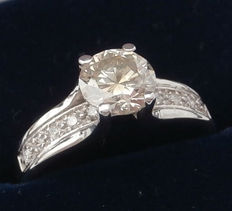 14K White Gold Ring with Diamond 1.02 Ct - size 6,5