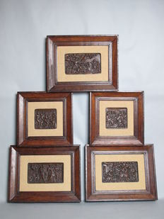 5 Antique Dutch Renaissance carved wooden panels with biblical scenes - circa 1650