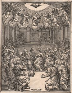 Hendrik Goltzius ( 1558 - 1617)  - The descent of the Holy Spirit - Engraved on wood by his pupil Christoffel van Sichem (1580-1658) - 1629