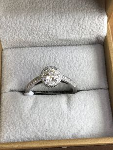 14K White Gold Halo Engagement Ring with 0.54 Ct. Diamond - F VVS2 - size 53.5
