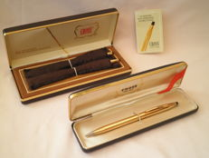 3 PCs 14 krt. gold-plated mechanical pencils by CROSS - in original pencil cases