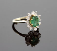 18K White Gold Ladies Ring With Emerald ( 0.75 CT ) and Diamonds ( 0.36 CT Total ) c.1970