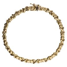 Yellow gold link bracelet with matt decorated hearts - Length: 19 cm