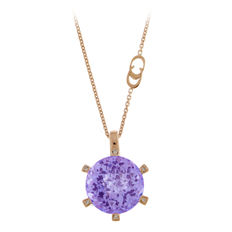 """Chimento – """"Giselle"""" rose gold women's necklace with a pendant set with amethyst and diamonds – 45 cm"""