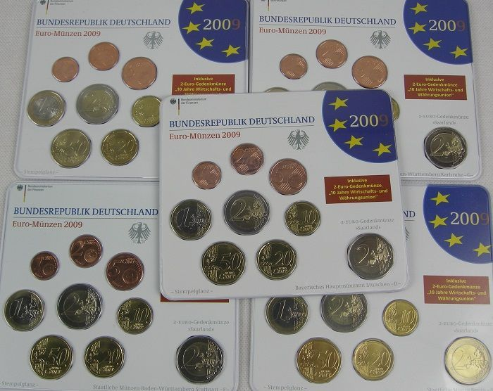 Germany - Jaarset 2009 A-D-F-G-J incl. 5 x 2 euro Saarland