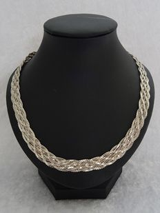 Braided 925 silver link necklace – length 51 cm