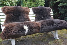 Unique pieces - lot with 2 very large nature brown/grey sheepskins/lambskins