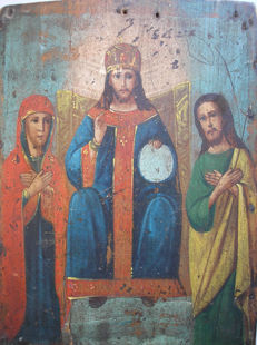 19th century Ortodox russian Icon of Jesus on a throne.