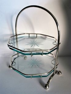 Beautiful etagere / petit four stand, 2-layers with glass platen