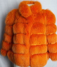 Orange fox fur jacket. Hand-made in Italy
