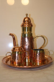 Beautiful hammered copper red and yellow coffee set