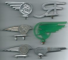 6 Different Old Hood Ornaments Car Engine Mascots