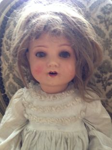 Antique doll, Schoenau & Hoffmeister 170, porcelain head, Germany