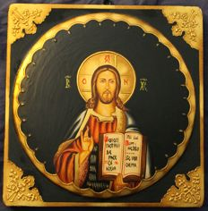 Hand-painted wooden icon, Romania, mid 20th century