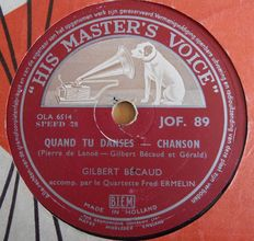 78 rpm  records French Chansons with  Yves Montand / Josephine Baker / Gilbert Becaud / Maurice Chevalier  and many others.