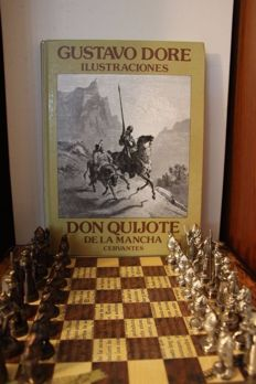 Chess Set D. Quixote Chess with Gustave Doré Illustrations Book