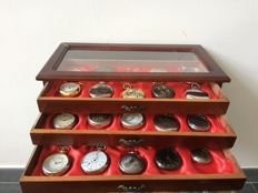 Collection of 30 Hachette pocket watches in the original watch box