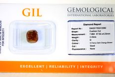 Diamant 2.43 ct in geseald GIL Certificaat - Fancy Dark ORANGE Brown - Zonder Reserve Prijs