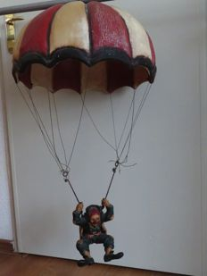 Unique vintage clown with a parachute, 2nd half of 20th century, the Netherlands