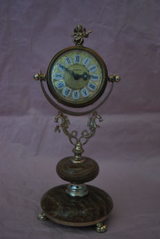 German table clock – Blessing – With alarm – Marble base – Circa 1960.