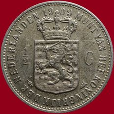 The Netherlands – ½ guilder 1909 Wilhelmina – silver.