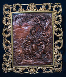 Baroque, bronze relief in brass frame - Italian or Austrian - second half of 19th century