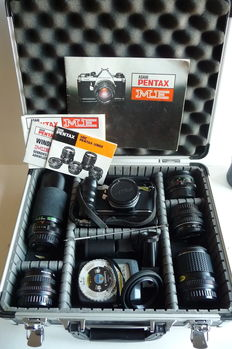 Large lot ASAHI PENTAX ME with 5 lenses and accessories, 1978.