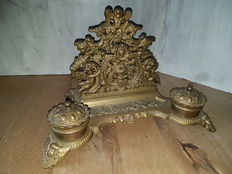 Bronze inkstand with letter holder, decorated with angels - approximately 1900