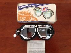 Halcyon MK 4 Silver cross - goggles - soft black leather finish