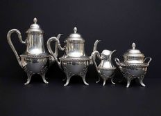4 piece service coffee -tea made of sterling silver, Henin & Cie, France, XIX /XX c.